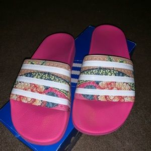 Gently used adidas slides